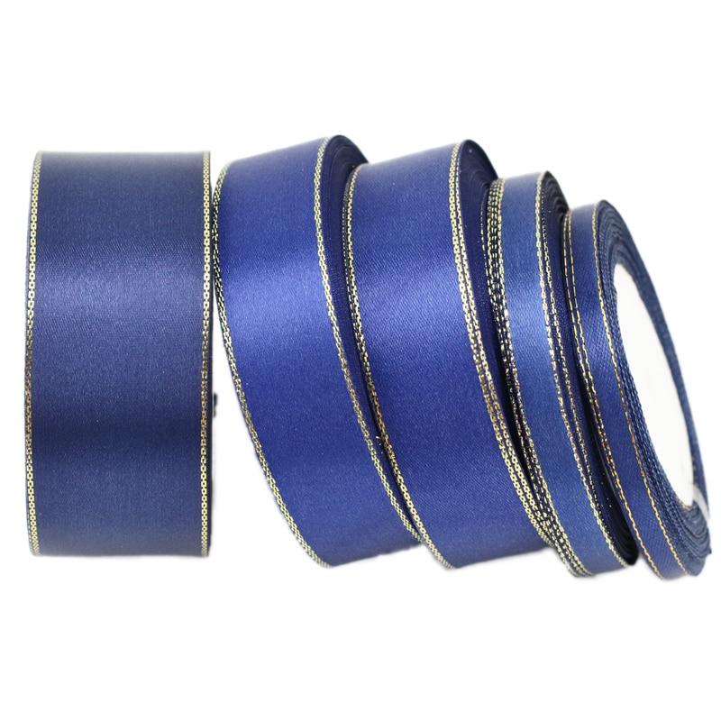 (25 ярдов/рулон) синий золото атласная лента для оторочки оптовая Рождественский подарок ленты (6/10/25/40 мм)