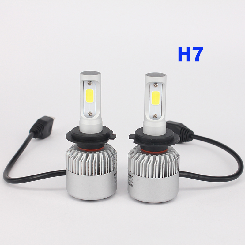2 PCS Car Headlight Bulb Hi-Lo Beam COB LED Spotlight 72W 8000LM 6500K Auto Headlamp 12v 24v fog light H4 H7 H8 H9 H11 9005 9006 2pcs car headlight bulb kit 12v 80w led auto fog light automotive head lamp automobile hi lo beam headlamp h1 h3 h4 h7 h11 9006