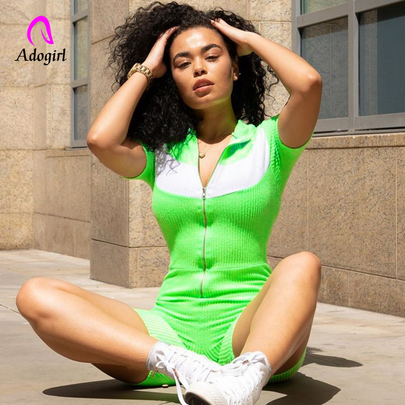 Adogirl Reflective Rompers Patchwork Short Sleeve Zipper Sexy Playsuit Neon Green Elastic Casual Body 2019 Biker Bodysuit Outfit(China)
