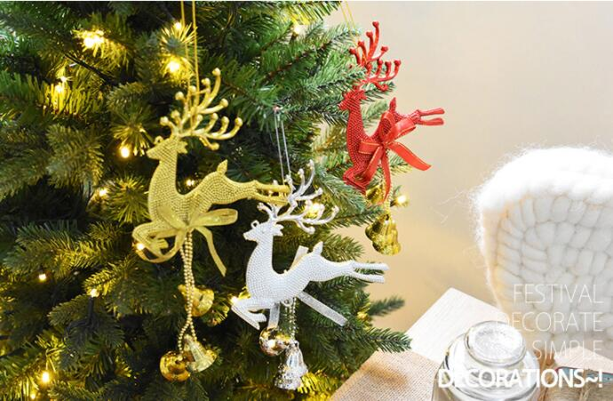 Glitter Elk Christmas Tree Decorations Hanging Pendant Deer Craft Ornament Christmas Decorations for Home New Year 2019
