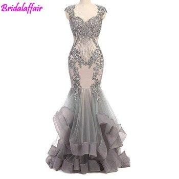 5b893818357dd Kadın Abiye Dantel Kristaller balo kıyafetleri Uzun Mermaid Akşam Elbise  Için Parti Örgün Abiye uzun elbise Tül Elbise