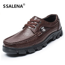 Men Genuine Leather Dress Shoes Men Lace-Up Non-slip Smart Casual Shoes Male Comfortable Working Shoes Big size 38-47 AA20556