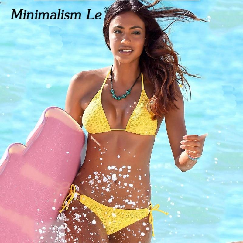 Minimalism Le Sexy Bikinis Bandage Swimsuit Women Bikini Set Beach Wear Solid Swimwear Vintage Bathing Suit Halter Top