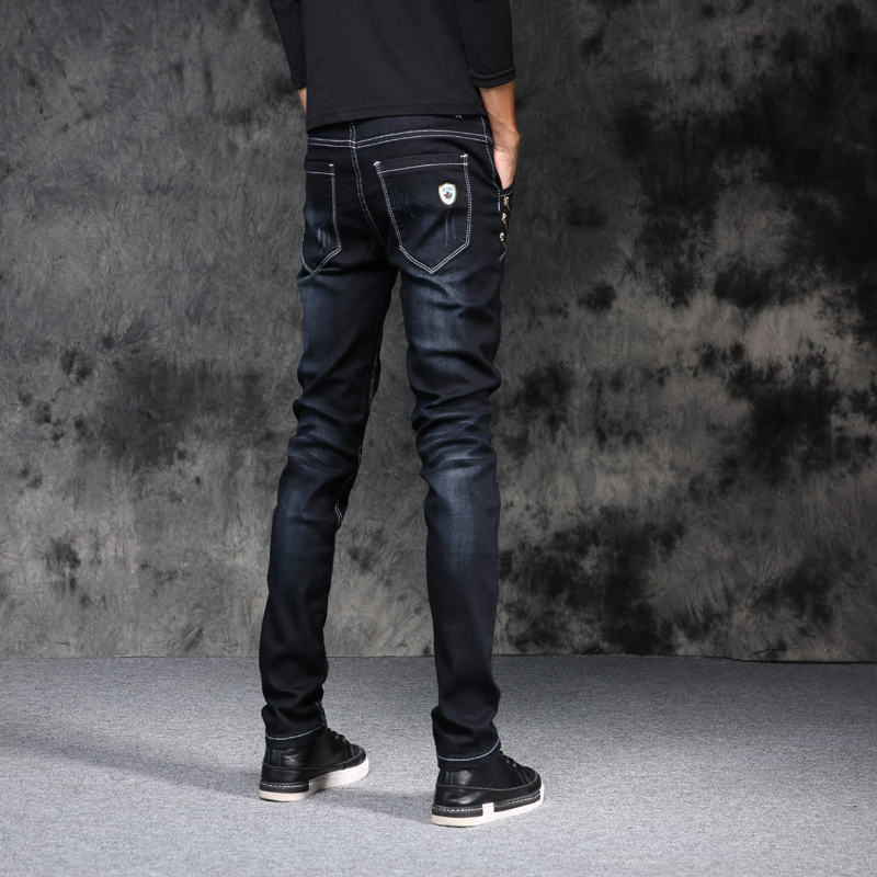 2018 Spring New ! England Style Pencil Feet Jeans , Fashion Casual Slim Long Jeans, Large Size Button Jeans Men 27-36 black blue