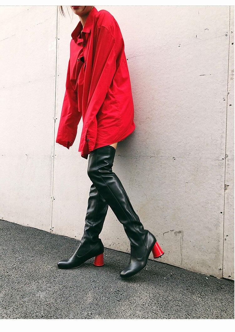 Nouveau Femmes D'hiver Bottes Le Rond Pour Talons Sur Genou Silla Haute Black Femme Baril Dirigeants Rouge Long Cycle 2018 T0qn7Ew6