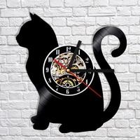 Cat Silhouette Vinyl Clock Kittens Animals Cat Quartz Watch Clock Housewarming Handmade Shadow Art Decor Unique Gifts