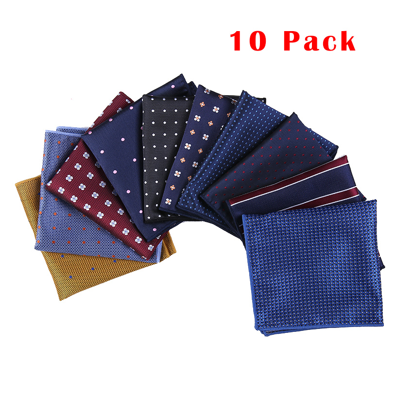10 Pack  Pocket Square 2018 Fashion Handkerchief Printed  Dot Plaid For Men Suits Wedding Party Hankies Mouchoir Homme