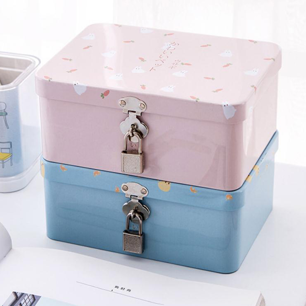Tin Box Lock Wedding Keepsake Christmas Birthday Home Gift Storage Box