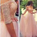 Princess Pink Lace Formal Long Prom Dresses Luxury Pearls Beaded Cap Sleeve A-Line Prom Party Gowns Half Sleeve Tulle Prom Dress