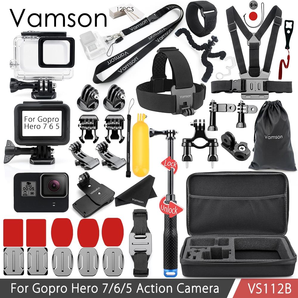 Vamson para Gopro 7 6 5 conjunto de accesorios correa para el cuello para Gopro Héroe de la carcasa resistente al agua funda de silicona VS112