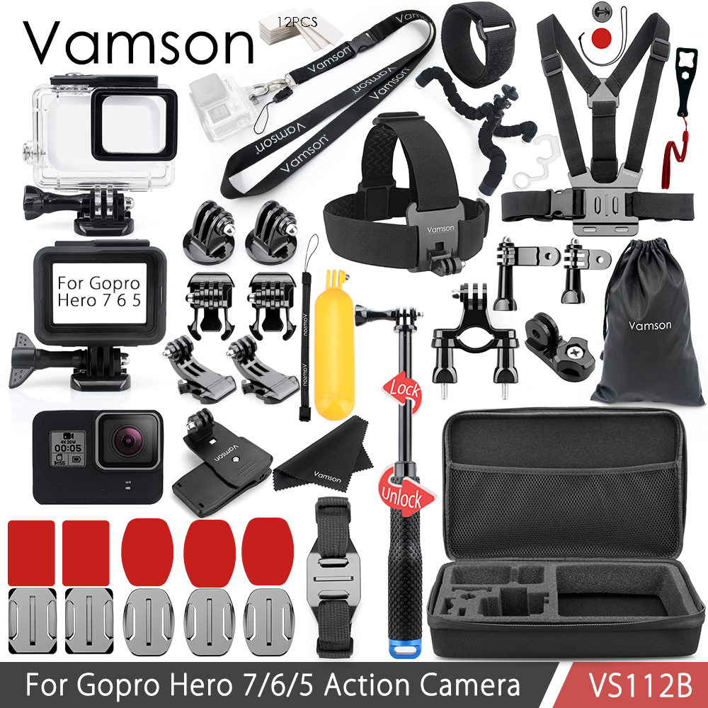 Vamson for Gopro 7 6 5 Accessories Set Neck Strap for Gopro Hero Waterproof housing case Silicone Case VS112 45m waterproof case mount protective housing cover for gopro hero 5 black edition