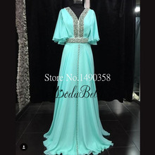 High Fashion Abaya In Dubai Kaftan Abendkleider Lange 2016 Türkis Perlen Partei-kleid-formales Kleid Jalabiya
