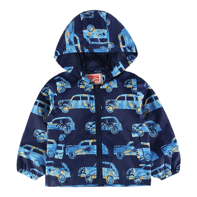 JOMAKE Boys Jackets 2018 New Summer Baby Boy Clothes Cartoon Car Printed Long Sleeve Kids Hooded Outerwear Coats 2-7Y Children