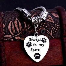 Шарм Любовь бисер всегда в моем сердце браслет лапы печать собака бирка кошка для спасения домашних животных браслеты женские животные украшение для влюбленных браслет подарок