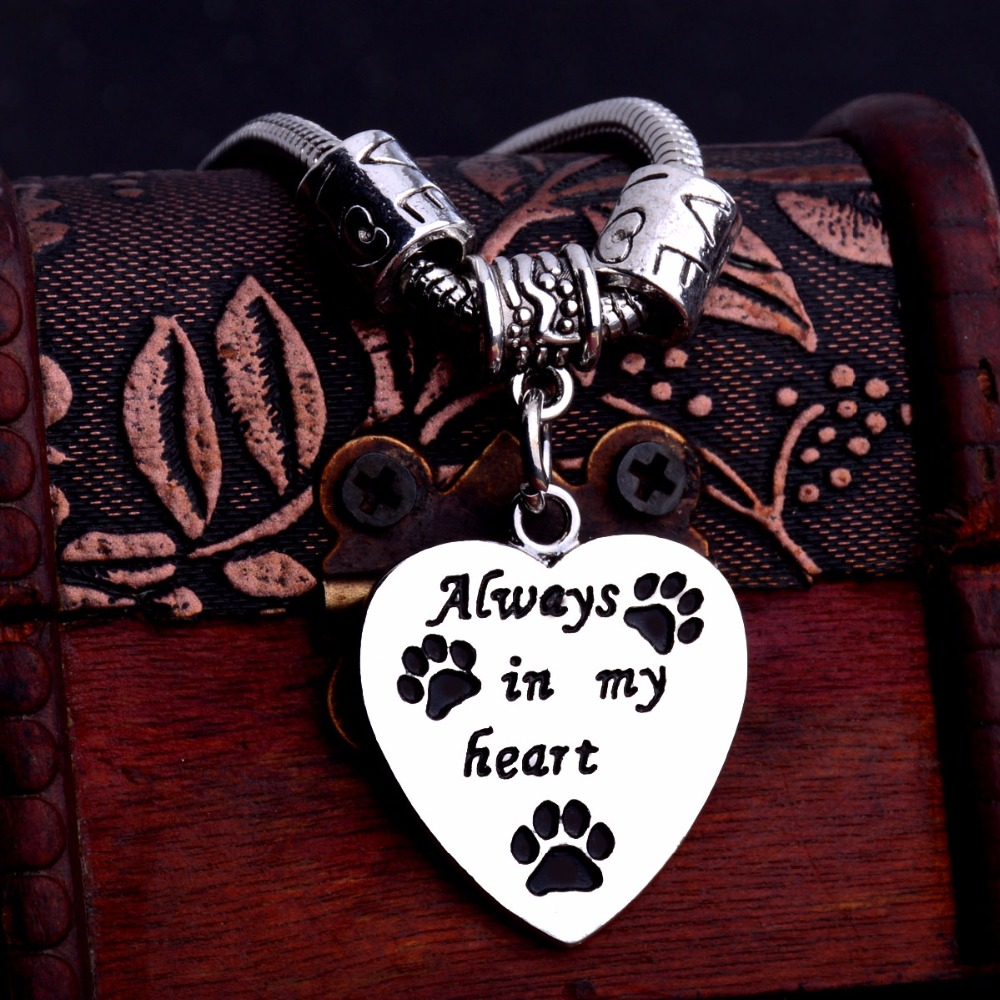 Charm Love Beads Always In My Heart <font><b>Bracelet</b></font> <font><b>Paws</b></font> Print Dog Tag Cat Pet Rescue <font><b>Bracelets</b></font> Women Animals Lover Jewelry Bangle Gift image