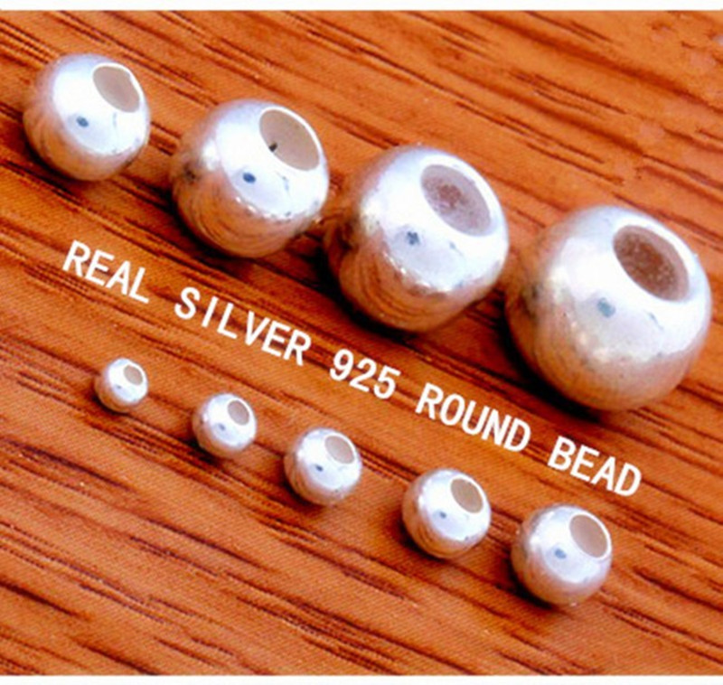 Real Pure 925 Sterling Silver Round Beads Cabochon 2MM 3MM 4MM 5MM Accessories Jewelry Silver Components Findings DIY