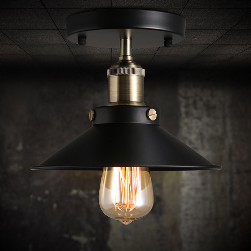 Metal Black Ceiling Mounted Vintage Ceiling Lamp Fixtures Lighting dia22cm with E27 socket