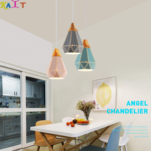 KAIT Modern LED Pendant Light Nordic Colorful Triangle Metal Living Room Lamp