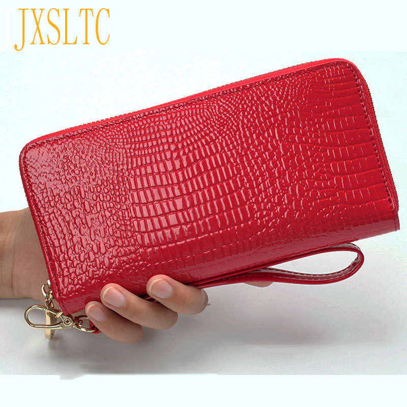 Female Purses Handbags Clutch Designer High-Quality Long Women Lusury Red