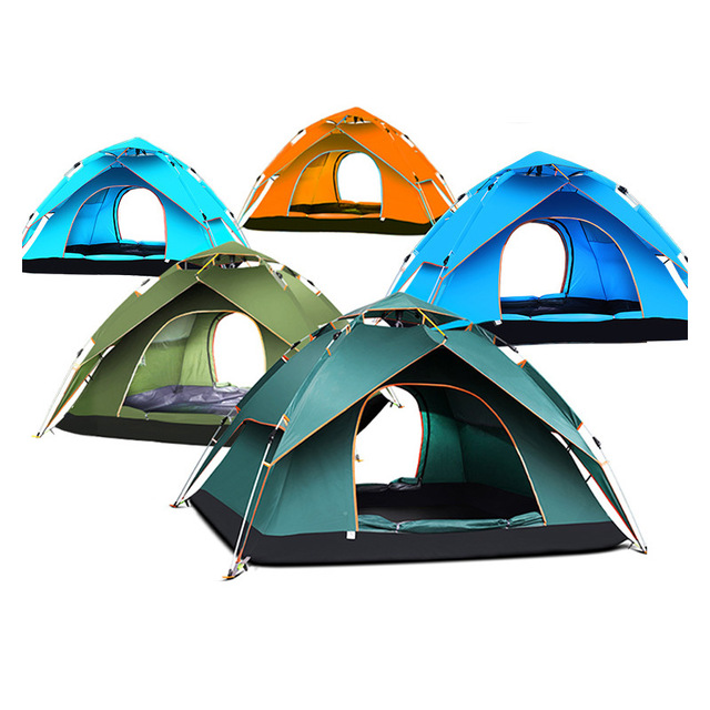 Outdoor 3-4 people automatic tent camping equipment double anti - rain tent Fully automatic tents ventilated and waterproof mobi outdoor camping equipment hiking waterproof tents high quality wigwam double layer big camping tent