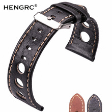 Genuine Leather Watchband Soft Thin 22mm 24mm Black Brown Women Men Watch Band Strap Belt With Pin Buckle