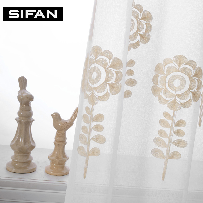 korean white linen embroidered sunflower voile curtains white sheer curtains for living room for bedroom tulle