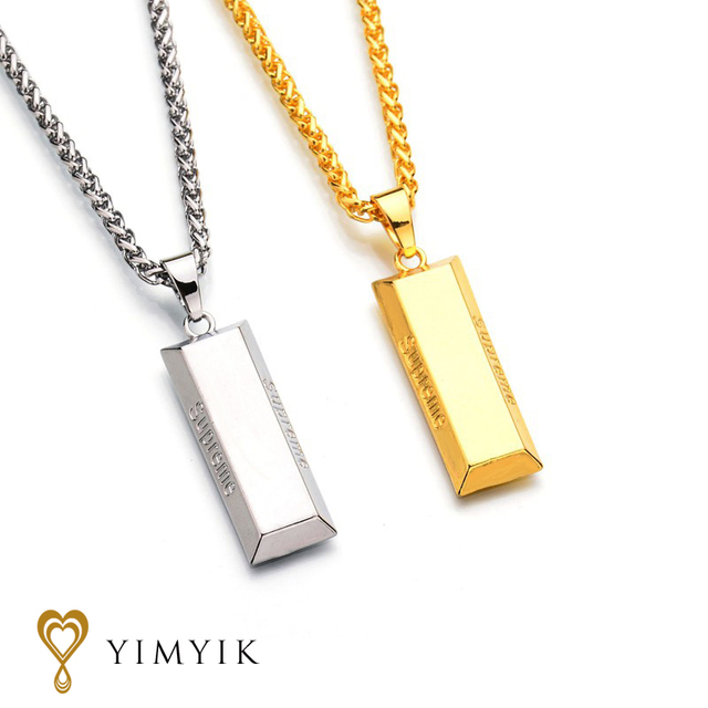 YimYik Chain Punk Necklaces Gold Cube Bar Necklace & Pendant Hip Hop Jewelry Dance Charm Franco for men jewelry gifts
