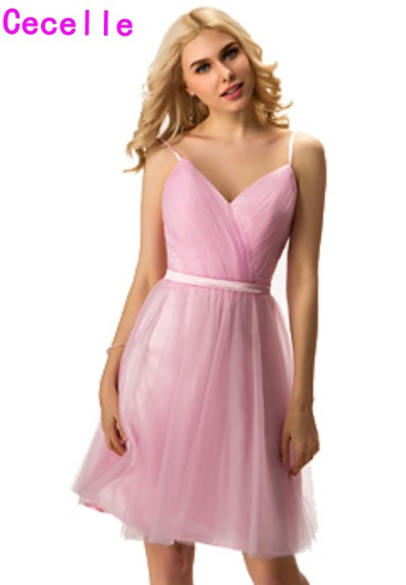 8172b7a4776c 2019 New Real Pink Short Bridesmaid Dresses With Spaghetti Straps V Neck  Pleats Tulle Knee Length