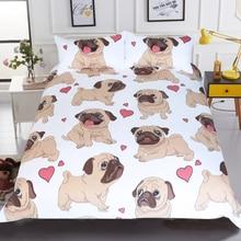BeddingOutlet Hippie Pug Bedding Set Queen Size Animal Cartoon Bed Set for Kids Cute Bulldog Print Duvet Cover Home Bedclothes