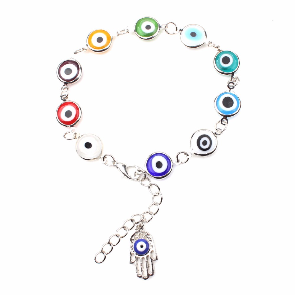 1strand Colorful Turkish Evil Eyes Bracelt Simple Charm Bracelet & Bangle Silver Color Beads Party pulseira masculina ...