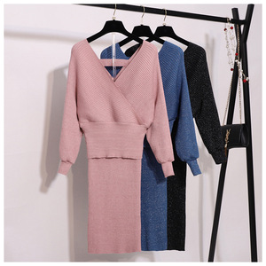 Image 4 - New Autumn Woman Knitted Two pieces Suit Solid Sweater Pencil Skirt Set for Woman Female Winter Warm Suits 2019