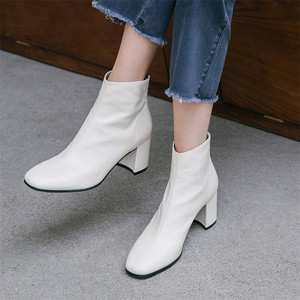 Image 5 - FEDONAS Brand Winter Women Ankle Boots Fashion Square Toe High Heels Genuine Cow Patent Leather Chelsea Boots Party Shoes Woman