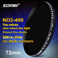 Zomei-filtro Variable de 72mm para lente de cámara Canon, NIkon, Hoya, Sony, ND2 a ND400, ND2-400 de densidad neutra, 72mm