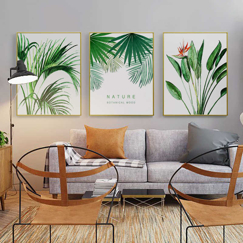 Modern Plants Green Leaf Metal Photo Frame Posters Print Floral Wall Art Picture Nordic Home Decor Flower Picture Frame Painting