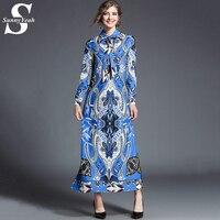SunnyYeah Designer Dresses Women High Quality Vintage Print Casual Maxi Dress 2018 Fashion Luxury Vestidos Robe