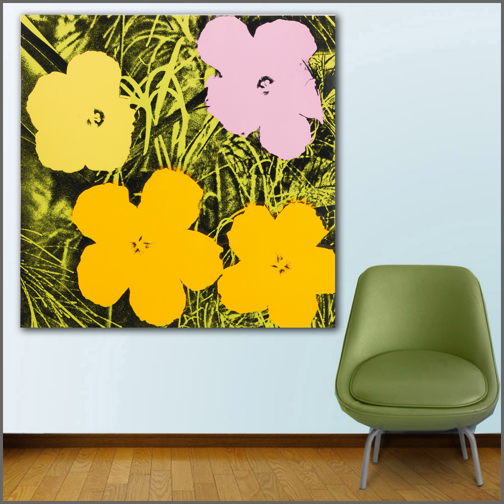 Large size Printing Oil FLOWERS by Andy Warhol colorful 3 wall art ...