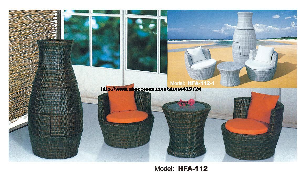 Creative Outdoor Furniture Rattan Sofa Vase Design Garden Sofa Set Patio Table Chair Combination Furniture Factory Price HFA112