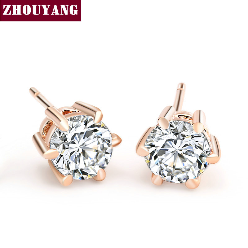 ZHOUYANG Stud øredobber for kvinner Classic Six Claws 5mm 0.5ct Round Cut Cubic Zirconia Rose Gold Color Mote Smykker ZYE036