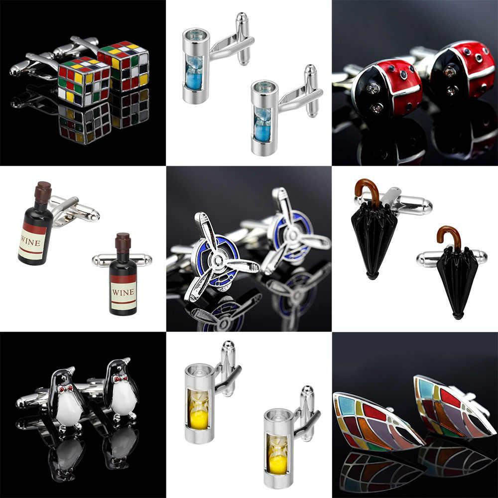 Memolissa Klasik Baru Manset 18 Gaya Penguin/Kubus Rubik/Baling-Baling/Payung/Topi/Anggur Merah mens Manset Tombol