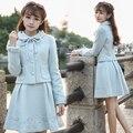 2016 Otoño Traje de la ropa de Las Mujeres de La Vendimia Retro Bordado de Manga Larga Chaqueta de la Capa + Falda