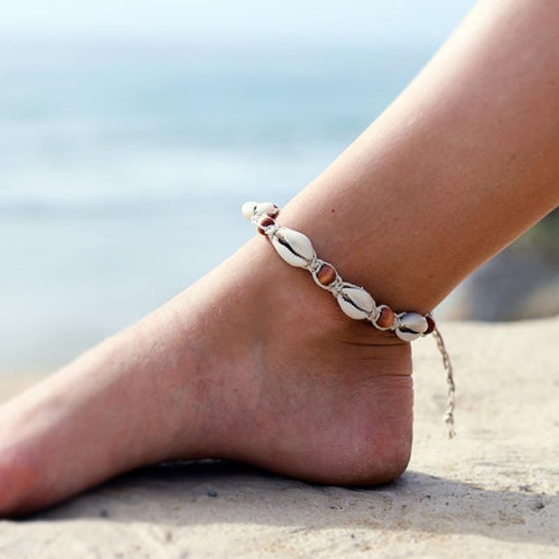 Vintage DIY Rope Wood Bead Ankle Bracelet Natural Shell ...
