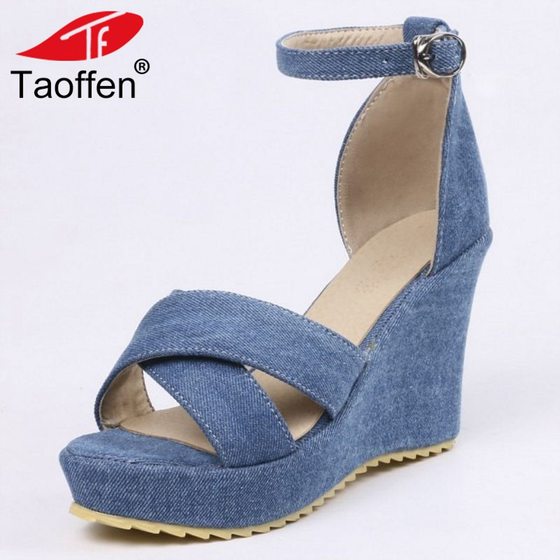 TAOFFEN Women Sandals Wedges Open Toe Ankle Strap Women Summer Shoes Sexy Ornate For Party Wedding Footwear Size 34-43 plus size 34 43 new summer shoes woman open toe women ankle strap wedges sandals casual low heel sandals women sandals