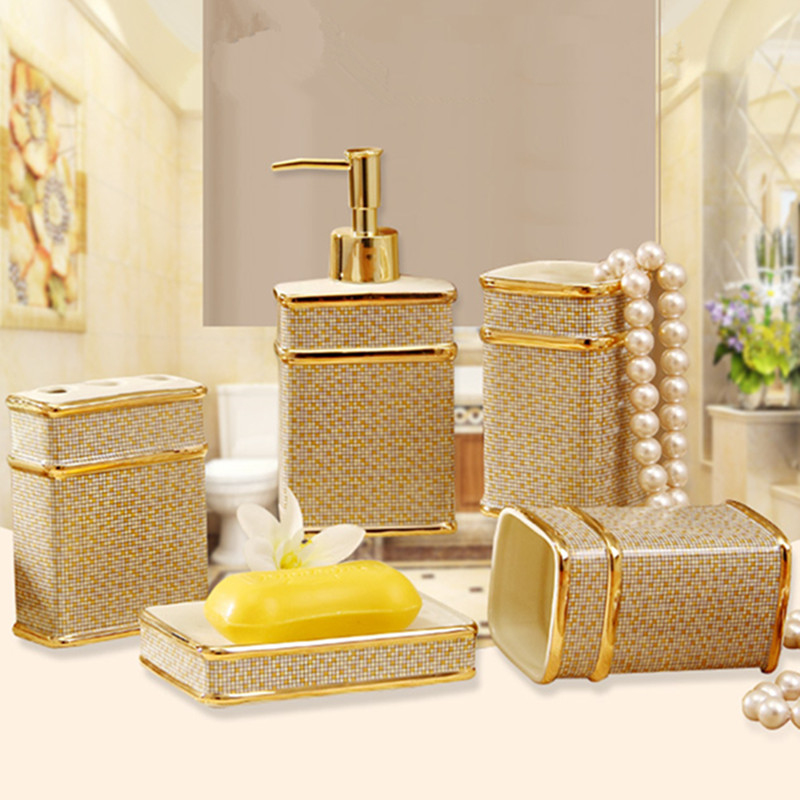 Perfect Ivory Porcelain Bathroom Sets With Gift Box Porcelain Mosaic Design  Five Piece Set Accessories Elegant