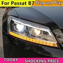 Фар автомобиля для Volkswagen VW Passat B7 2011-15 US Версон фар Светодиодный динамический сигнал плавающий света Биксеноновая объектив луч света