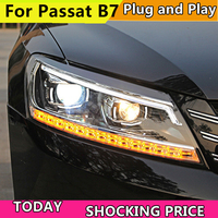 Car headlight for Volkswagen VW Passat B7 2011 15 US Verson Headlight LED Dynamic Signal floating light Bi Xenon Lens Beam Light