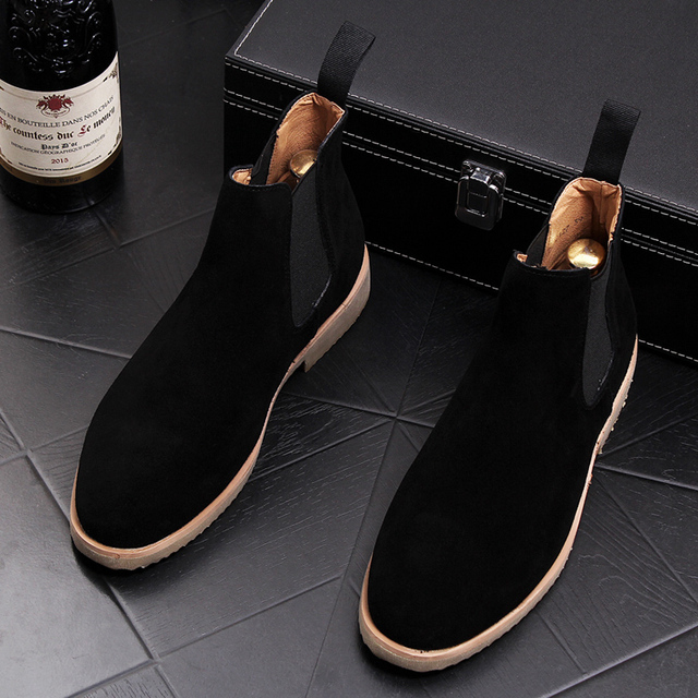 Korean style design mens fashion nubuck leather shoes party nightclub dresses flats shoe slip-on ankle chelsea boots male sapato Men's Fashion