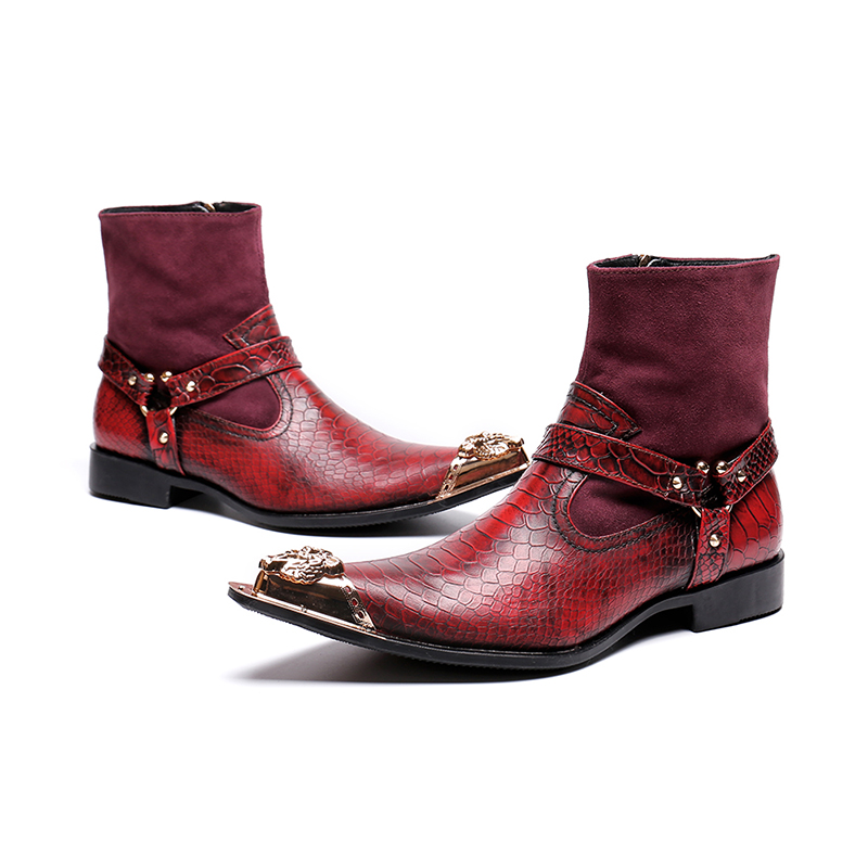 Genuine Leather red zip slip-on ankle boots fashion low heel oxford animal pattern rivet Martin boots men size 38-46