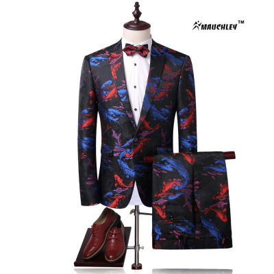 276afc9e270 Modern Slim Fit Men Colorful Floral Suits Tuxedo Korean 2 Piece   Set ( Jacket+