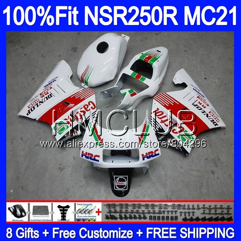 Injection Green white For HONDA <font><b>NSR</b></font> <font><b>250</b></font> R MC21 PGM3 NSR250R 90 91 92 93 94HM.13 NSR250 R NSR250RR 1990 1991 1992 1993 Fairings image