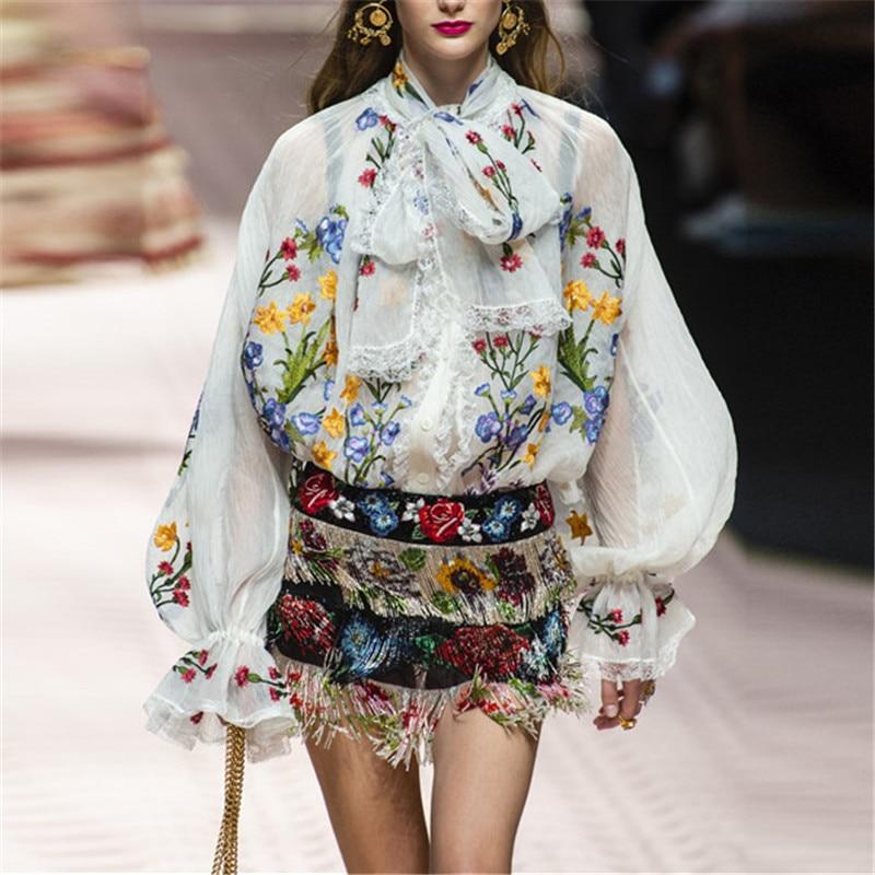 2019 nouvelle mode femmes Blouses broderie Floral arc en mousseline de soie haut à manches longues lanterne chemise